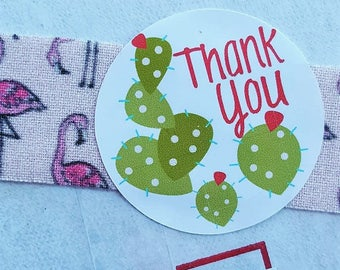 Thank You - Thank you with Cactus - Happy Mail Sticker - small business packaging - packaging supplies