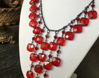 Red Square Glass with Swarovski Crystals and Black Chain Necklace
