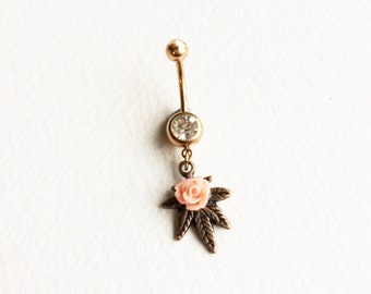 belly button ring, rose gold belly ring, CORAL,PINK, copper, rose, Marijuana, Belly Button Jewelry, body jewelry bellybutton ring SMALL