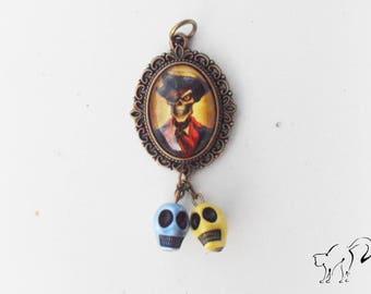 DESTASH vintage pirate motif cabochon pendant beads skull / skull / skull