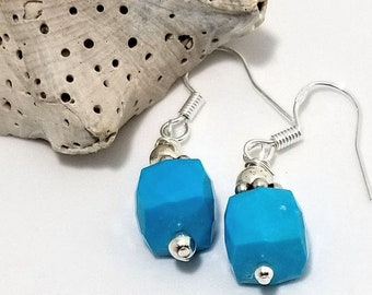 Lucious Rich Blue Cube Turquoise Semi-Precious Gemstones adorned with Sterling Silver #622