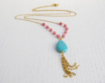 Pink jade necklace, Turquoise drop necklace, Gold tassel necklace