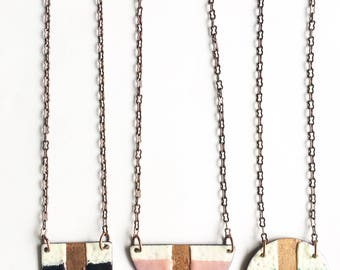 Geometric Enamel Necklace- Choose uour color.