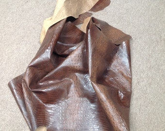 AB431.  Brown Embossed Croc Leather Cowhide Partial