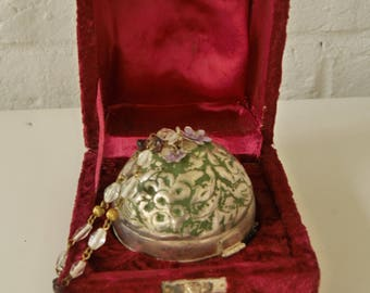 Round metal purse circa 1920s with velvet box christal chain handle one of a kind