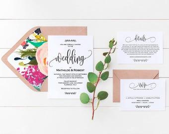 Printable Wedding Invitation, Wedding  Template, Rustic Kraft Invitation, Editable Wedding Invitation,cheap, DIY, PDF Instant Download
