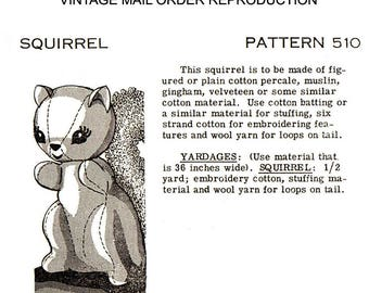 pdf Squirrel Stuff Toy Vintage Sewing Pattern - Mail Order #510 Sew Animal Digital 8x11 paper LARGE PRINT