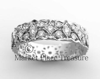 14K  Organic Diamond Eternity Wedding Band Ring