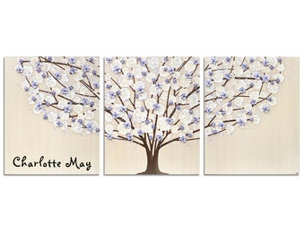 Custom Painting, Personalized Nursery Wall Art for Baby Girl, Large Canvas Art, Lavender Purple Tree Painting Triptych - 50x20