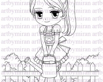 Digital Stamp-Little Garden Sally(#107), Digi Stamp, Coloring page, Printable Line art for Card and Craft Supply