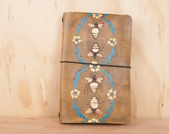 Midori Cover - Leather in the Melissa pattern with Bees and Flowers - Gold, yellow, turquoise and antique brown