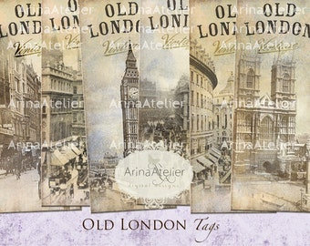 BOOKMARKS Old London - Digital Tags - Hang Tags - Vintage Collage - gift Tags, scrapbooking, mixed media, altered art - paper supplies - tag