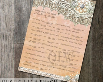 Rustic Lace Wedding Fun Fill in the blanks game - 5x7  - Country Rustic Wedding