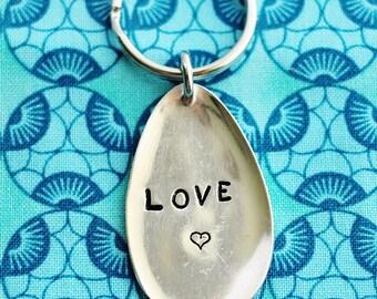 Stamped Spoon Key Ring, Hand Stamped LOVE Heart Keychain, Repurposed Vintage Silver Plate Silverware Keyring by Hendywood KCE43