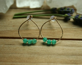 Hammered Teal Agate 12k Gold Fill Earrings