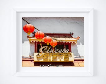 Retro shop sign - Chinatown photo print - Los Angeles photography - Vintage sign wall decor - California travel fine art - 11x14 16x20 20x24