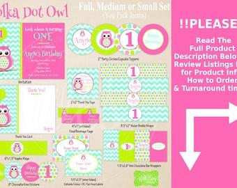 Owl Party Printables - Pink Polka Dot Owl Birthday - Printable Party Set - Owl Party Kit - DIY Pink Owl Party