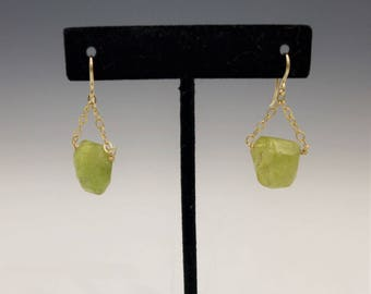 Green Garnet and Gold Chain Earrings
