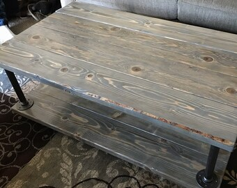 Rustic Coffee Table W/ Gas Pipe