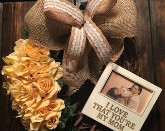 Mother's Day Wreath, Burlap Wreath, Grapevine Wreath, Yellow Roses Wreath