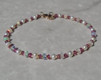 Opal Bracelet, Ethiopian Opal, Pearl Bracelet, Ruby Bracelet, October Birthstone, Dainty Beaded Bracelet, Gemstone Bracelet