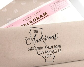 Custom California State Return Address Stamp, perfect gift for holidays, housewarming parties and weddings or as Business Card