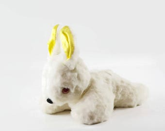 Vintage Easter Bunny Toy, White Rabbit Stuffed Animal, Easter Bunny Decoration