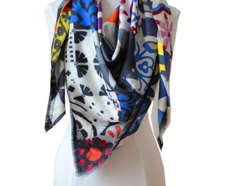 """scarf silk scarf -design- 130 """"x 130"""" - Made in France - Limited Edition."""