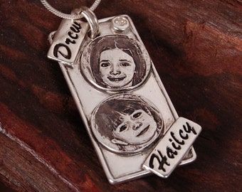 Engraved portraits on a dog tag