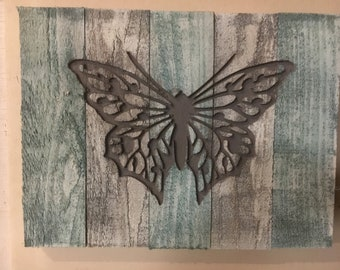 Butterfly  silhouette carved in  wood