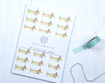 Sausage dog notebook, notebook for dog lovers, Dachshund notebook, notepad, Notes for dog lovers, Dog notebook, Cute sausage dog stationery