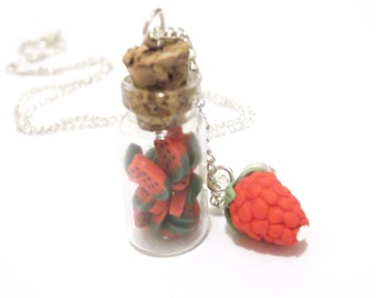 Strawberry Necklace Bottle Necklace ( food necklace miniature bottle gift for her polymer clay jewelry red necklace mini food jewelry