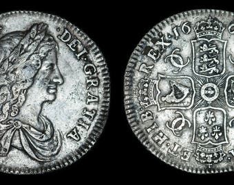 Old English Coin Antique Genuine Charles II Solid Silver Shilling 1663, British, Stuart