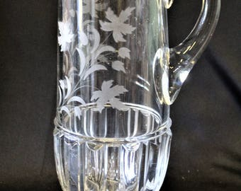 EAPG ANTIQUE Very Large Ripley & Company Heavy Etched Oak Leaves Tankard Style Water Pitcher With Applied Handle Circa 1890