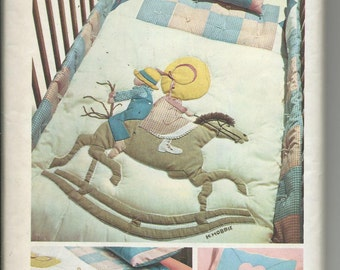 Nursery Holly Hobbie Pillowcase Quilt Crib Youth Bed Applique Transfers Factory Folded Simplicity 6702 Vintage 1974
