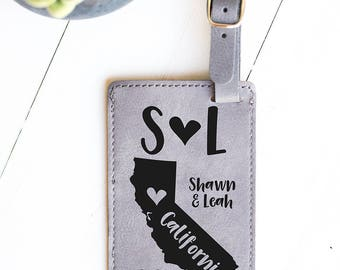 California Map Gift, Luggage Tag, Wedding Gift, Cali Wedding, Gift for Bride, Bridal Shower, Los Angeles, San Francisco, Sacramento LT34