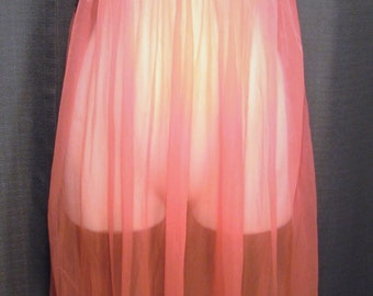 "Bolero Neon Pink ""Chiffon"" Babydoll 1960s Nightie"