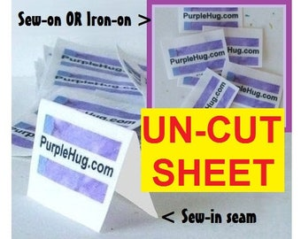 Fabric labels tags, FRAY Proof - Sew in seam, Iron on, Sew on - Personalized, Full color, Washable - supplies, sew in clothing labels