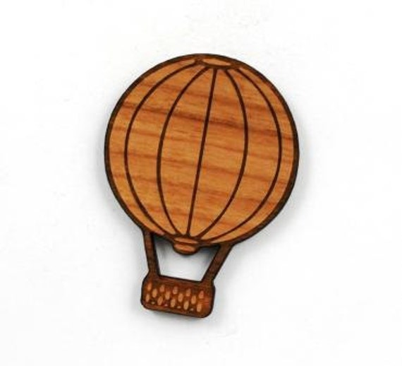 Laser Cut Supplies- 1 Piece.Hot Air Balloon Charm - Cherry Wood Laser Cut Balloon - Little Laser Lab Sustainable Wood Products