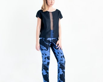 Mariona Sheer Panel Black Linen Tee // Womens Tops // Summer Tops For Women