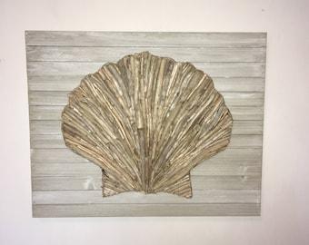 Awesome Handmade Driftwood Wall Art Scallop Seashell On Pallet Board: Beach  Driftwood Decor Beach Wall Art