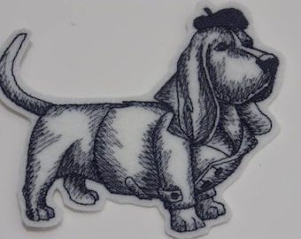 Dog in Beret Iron-on Patch. Embroidered Patch. Sew-On Patch.