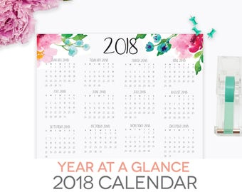 2018 year at a glance printable