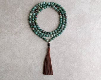 Mala Necklace - African Jade with Ebony Wood - Meditation Prayer Beads - Healing Gift - Item # 983