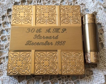 Vintage 1950s Compact Engraved 30th A.M.P. Harvard December 1956 Lipstick Blush Powder Dorothy Gray Brand Compact Harvard Collectible