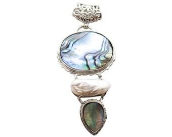 Abalone Pendant, Pearl Pendant, Silver Plated Pendant, SKU 5075