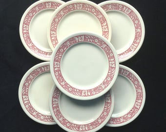 """Shenango Diner Hotel Restaurant China Ivory with Maroon Border Art 6-3/8"""" Bread and Butter Plates (Set of Seven) in Excellent Condition"""