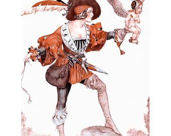 French Valentine Card - Girl Falconer w Cupid as Falcon Herouard