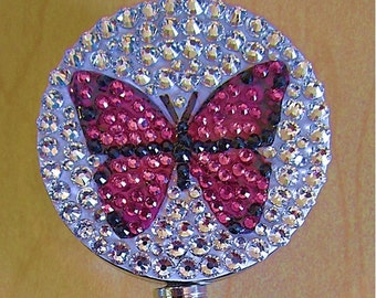 Pink butterfly ID badge reel