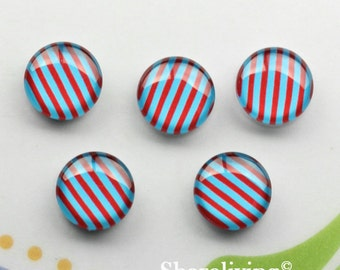 Stripe Glass Cabochon, 8mm 10mm 12mm 14mm 16mm 18mm 20mm 25mm 30mm Red Blue Streak glass dome -- BCH257K